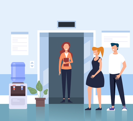 People workers character hall Vector flat cartoon graphic design illustration concept Ilustração