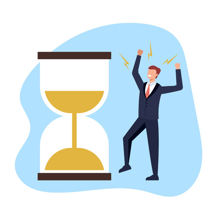 Time flow away. Finance crisis concept. Vector flat cartoon graphic design illustration Иллюстрация