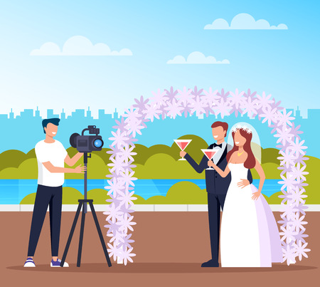 Professional photograph man character in public park nature. Vector flat cartoon graphic design illustration