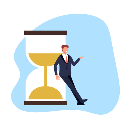 Time management banner concept. Vector flat cartoon graphic design illustration