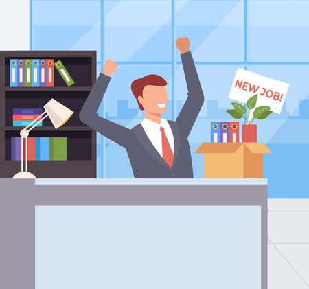 Happy smiling office worker get job job. Recruitment head hunting concept. Vector flat cartoon graphic design illustration Illustration