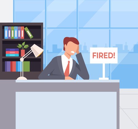 Sad unhappy office worker character fired dismiss. Unemployment concept. Vector flat cartoon graphic design illustration concept