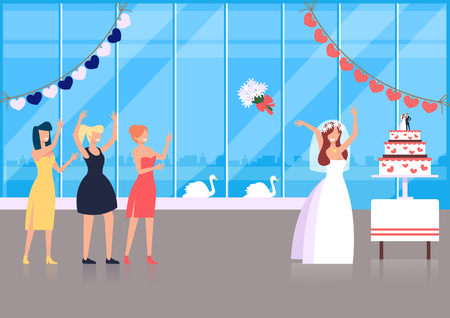 Try to catch it. Wedding ceremony tradition concept. Vector flat cartoon graphic design illustration concept