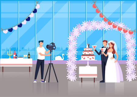 Professional photograph man character taking photo of wedding couple bride and groom. Vector flat cartoon graphic design illustration