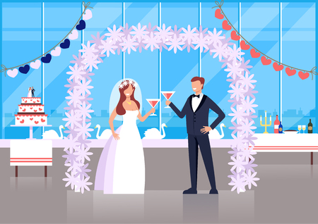 Wedding ceremony bride and groom characters concept. Vector flat cartoon graphic design illustration Illustration