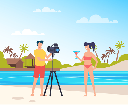 Professional photograph man character taking photo of woman model on beach. Vector flat cartoon graphic design illustration Ilustração