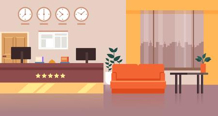 Recepción de lujo del hotel. Concepto de turismo de viajes. Ilustración de dibujos animados gráfico plano de diseño vectorial