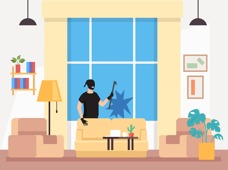 Home house burglar Vector design flat graphic cartoon illustration