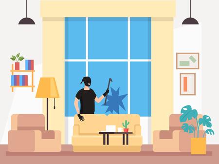 Ladro di casa casa Vector design grafico piatto fumetto illustrazione Vettoriali