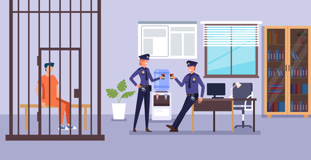 Police man character drinking coffee and talk. Police department low system concept. Vector design flat graphic cartoon illustration Ilustração