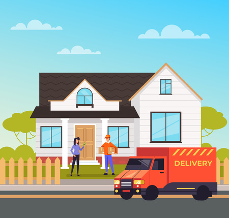 Man worker courier character bringing box parcel to consumer woman. Online shopping cargo delivering concept. Vector design flat graphic cartoon illustration Ilustração