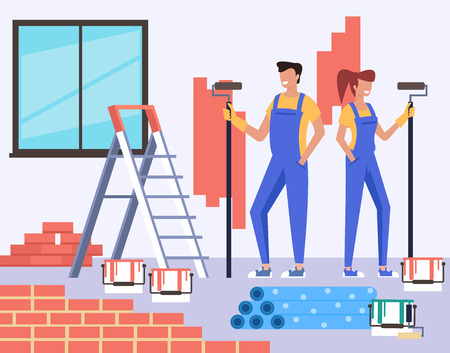Two people professional workers painting walls. Home room house preparing concept. Vector design flat graphic cartoon illustration Ilustração