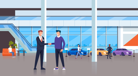 Seller man shaking hand with consumer client character. Cars shop store concept. Vector design flat graphic cartoon illustration