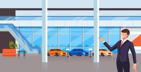 Il carattere dell'uomo del venditore di vendita presenta le nuove automobili. Concetto di negozio di trasporto negozio. Illustrazione del fumetto grafico piatto di disegno vettoriale