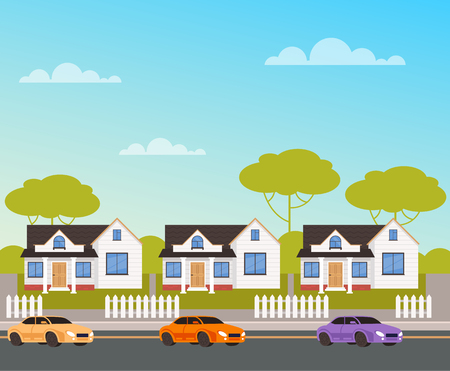 Houses street village concept. Vector design flat graphic cartoon illustration Иллюстрация
