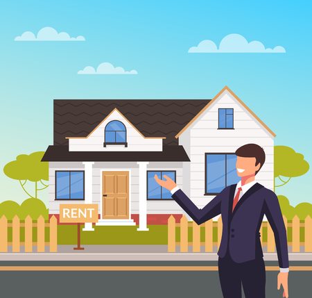 Smiling agent realtor man character present new house. House sell rent concept. Vector design flat graphic cartoon illustration