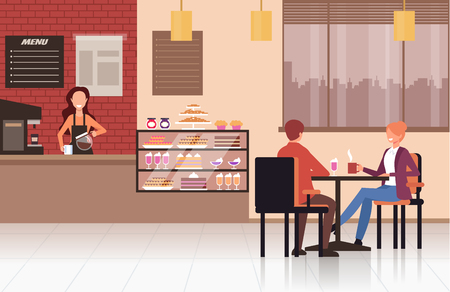 Coffee shop coffee shop Street food concept. Vector design flat graphic cartoon illustration