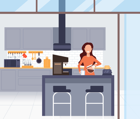 Woman character making coffee morning. Vector design flat graphic cartoon illustration Ilustração