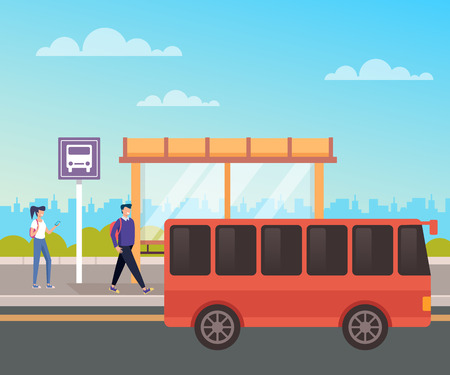 People passenger waiting bus. City urban transportation concept. Vector design flat graphic cartoon illustration