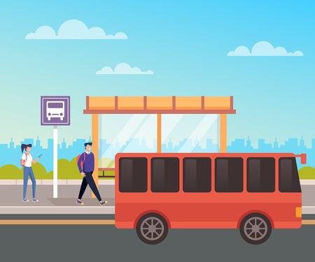 People passenger waiting bus. City urban transportation concept. Vector design flat graphic cartoon illustration