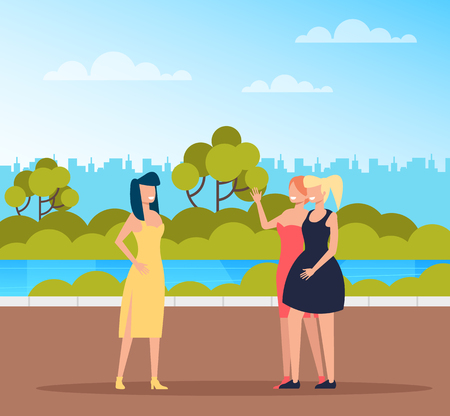 Friends woman girls meeting in public park. Vector design flat graphic cartoon illustration