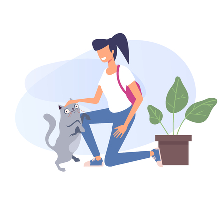 Woman and cat characters. Pet adoption concept. Vector design flat graphic cartoon illustration