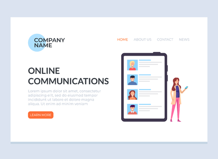 Online communication banner web page landing concept. Vector design flat graphic cartoon illustration