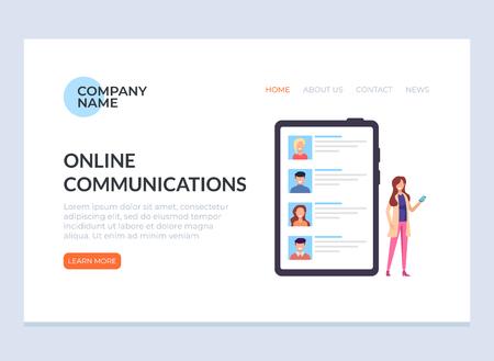 Online communication banner web page landing concept. Vector design flat graphic cartoon illustration