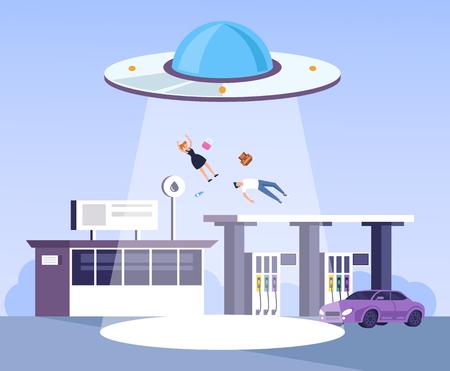 Nave espacial extraterrestre OVNI secuestra a personas de la gasolinera. Ilustración de dibujos animados gráfico plano de diseño vectorial