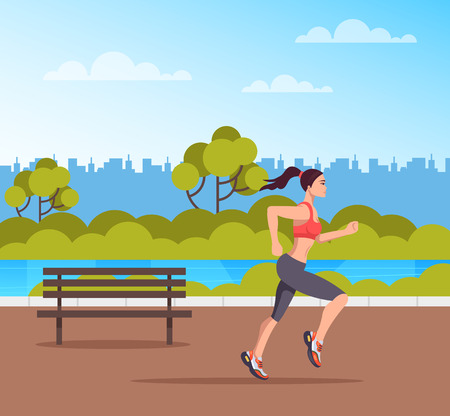 Woman character running in public park. Sport lifestyle concept. Vector design flat graphic cartoon illustration