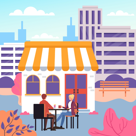 Two people sitting and drinking coffee. Vector design flat graphic cartoon illustration Illustration