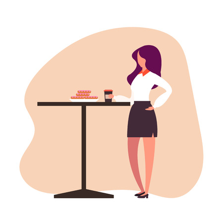 Business woman office worker drinking coffee on street cafe. Coffee break concept. Vector design flat graphic cartoon illustration Ilustração