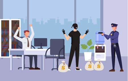 Police officer catching him Crime scene concept. Vector flat graphic design cartoon illustration