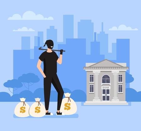 Il personaggio dell'uomo ladro bandito ladro ruba sacchi di denaro dall'ufficio della banca. Concetto di scena del crimine. Illustrazione del fumetto di design grafico piatto vettoriale Vettoriali
