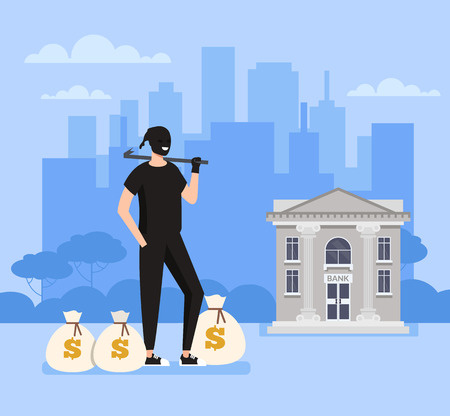 Thief bandit burglar man character steal money bags from bank office. Crime scene concept. Vector flat graphic design cartoon illustration