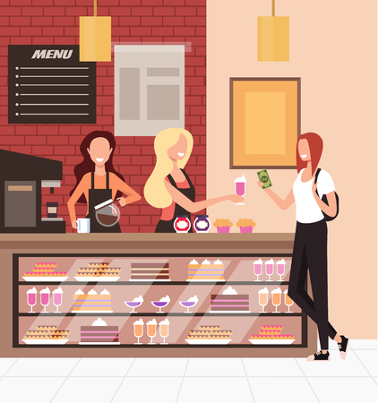 Milkshake woman bakery candy shop. Public food take away cafe business concept. Vector flat graphic design cartoon illustration