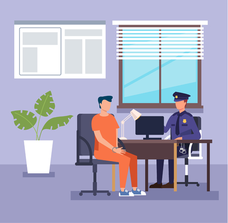 Policeman officer character arrest and interrogates suspected criminal prisoner Crime and law concept. Vector flat cartoon illustration Ilustrace