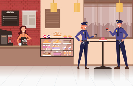 Two people working in shop store shop. Vector flat graphic design cartoon illustration  イラスト・ベクター素材