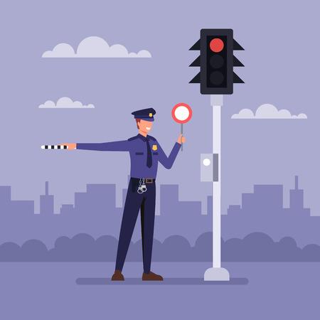Policjanci w pobliżu sygnalizacji świetlnej. Ilustracja kreskówka płaska grafika wektorowa