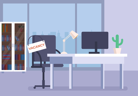 Office workplace with empty armchair and vacancy sign text announcement. Head hunting recruitment concept. Vector flat graphic design cartoon illustration