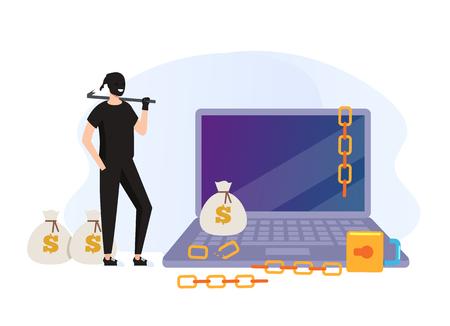 Thief hacker man character Cyber internet crime concept. Vector flat graphic design cartoon illustration