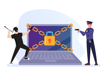 Security character and policeman catch him. Cyber internet crime concept. Vector flat graphic design cartoon illustration
