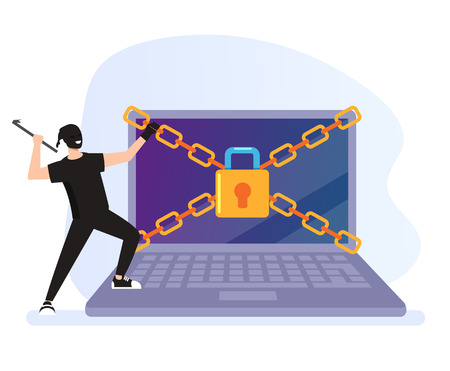 Thief hacker man trying to break security protection system. Cyber internet crime concept. Vector flat graphic design cartoon illustration