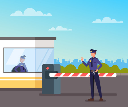 Security guard protect toll booth. Vector flat graphic design cartoon illustration