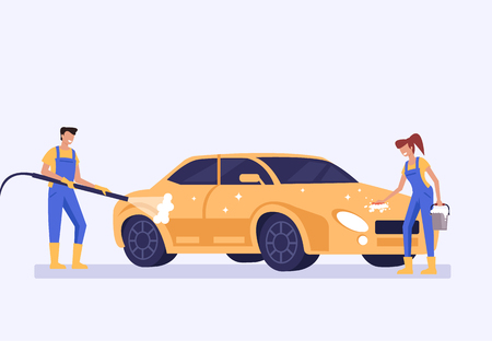 Car washing machine Carwash service concept. Vector flat graphic design cartoon illustration Illustration