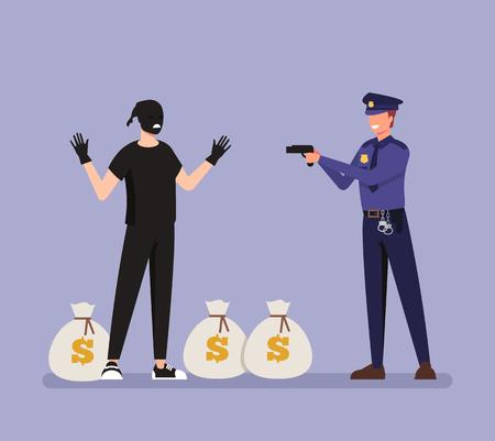 Il personaggio del poliziotto ha catturato borse di denaro criminale. Concetto di scena del crimine. Illustrazione del fumetto di design grafico piatto vettoriale Vettoriali