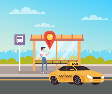 Woman character call taxi and waiting. Internet taxi cab service concept. Vector flat graphic design cartoon illustration Ilustração