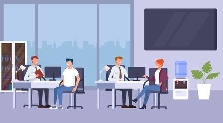 Concepto de consulta de oficina bancaria. Ilustración de dibujos animados de diseño gráfico plano de vector