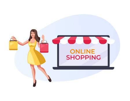 Happy smiling woman holding purchases bags. Online internet shopping concept. Vector flat cartoon graphic design illustration