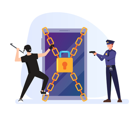 Cyber internet crime concept. Vector flat graphic design cartoon illustration 일러스트